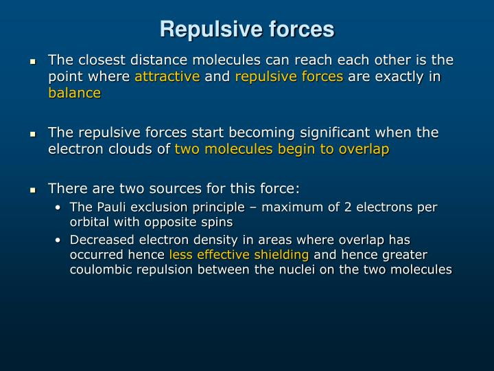 Repulsive forces