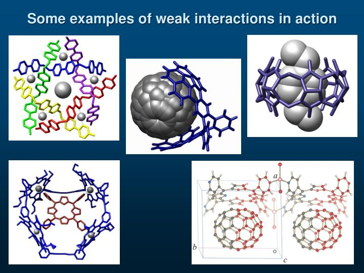 Some examples of weak interactions in action