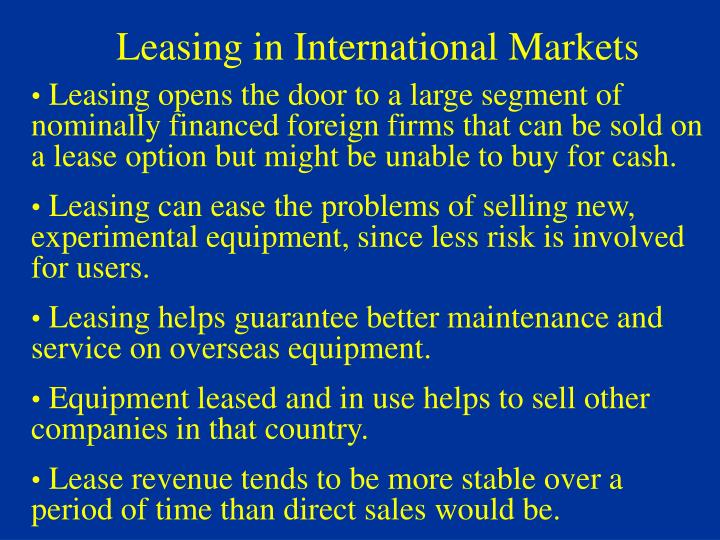 Leasing in International Markets