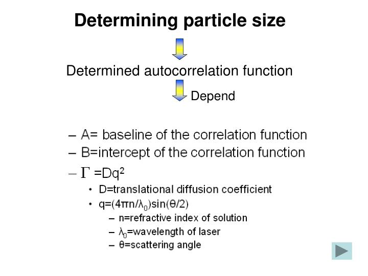 Determining particle size