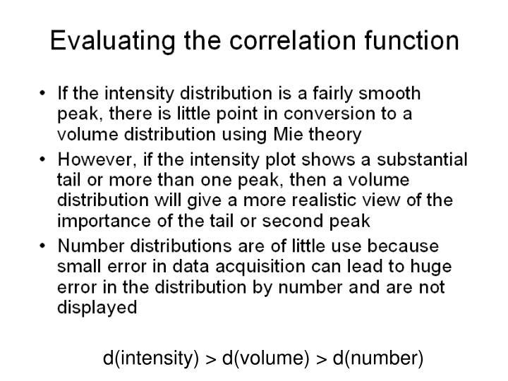 d(intensity) > d(volume) > d(number)