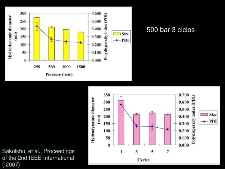 500 bar 3 ciclos