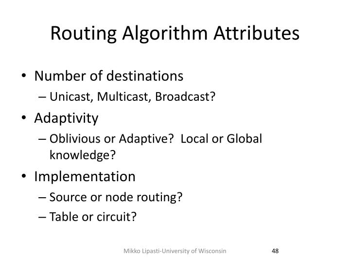Routing Algorithm Attributes