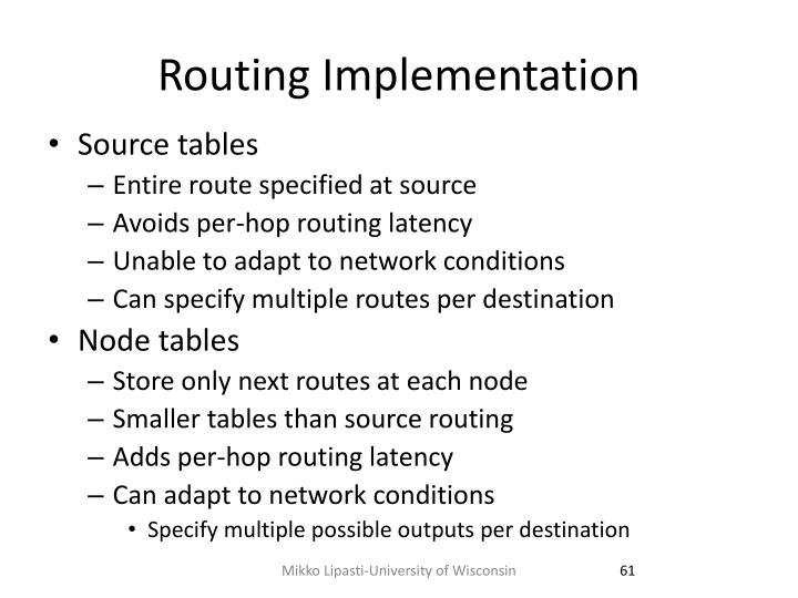 Routing Implementation