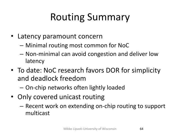Routing Summary