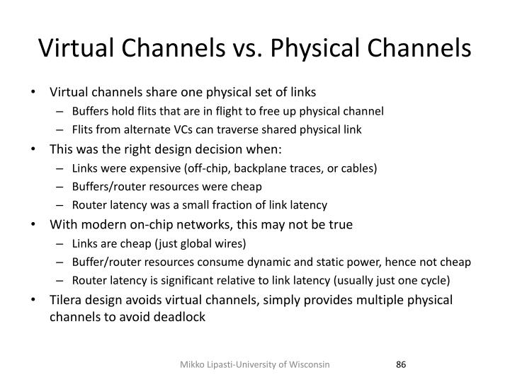 Virtual Channels vs. Physical Channels