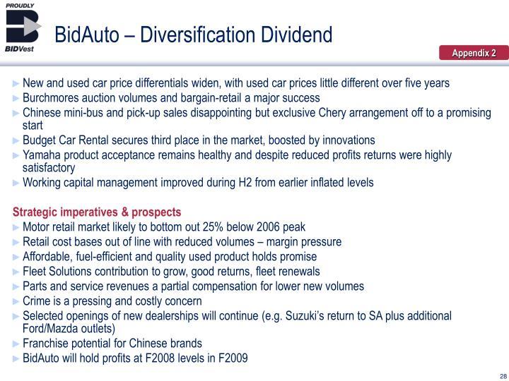 BidAuto – Diversification Dividend