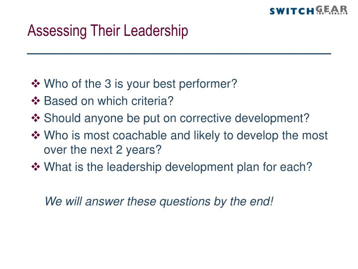 Assessing Their Leadership