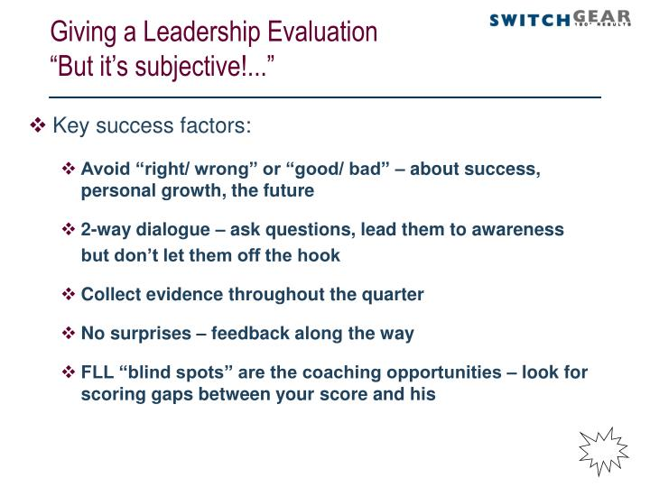 Giving a Leadership Evaluation