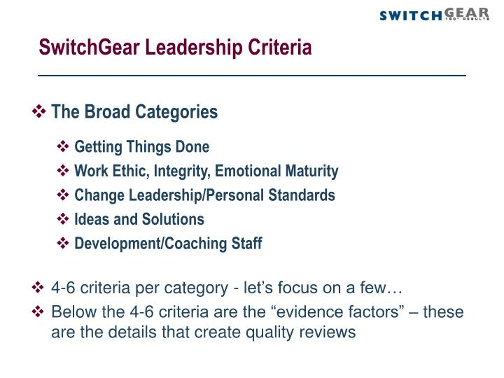 SwitchGear Leadership Criteria