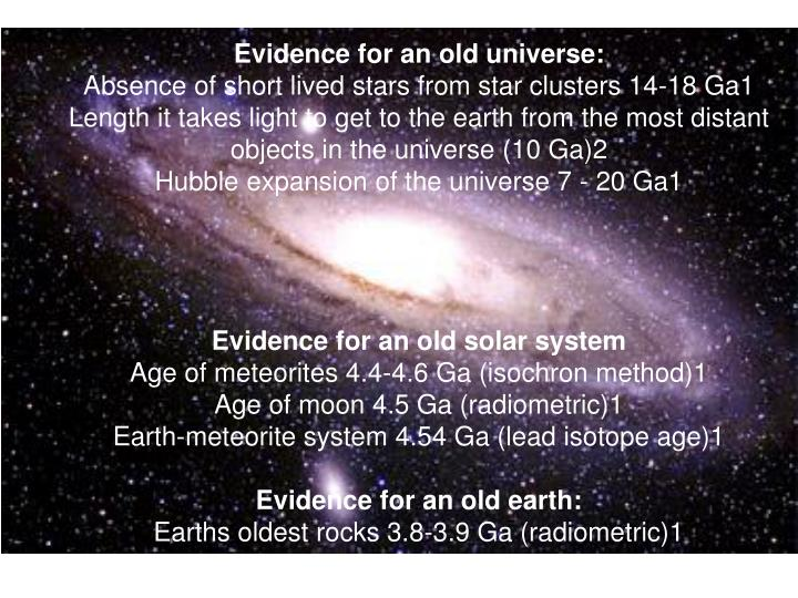 Evidence for an old universe: