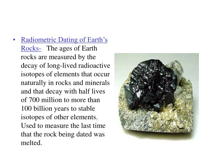 Radiometric Dating of Earth's Rocks-