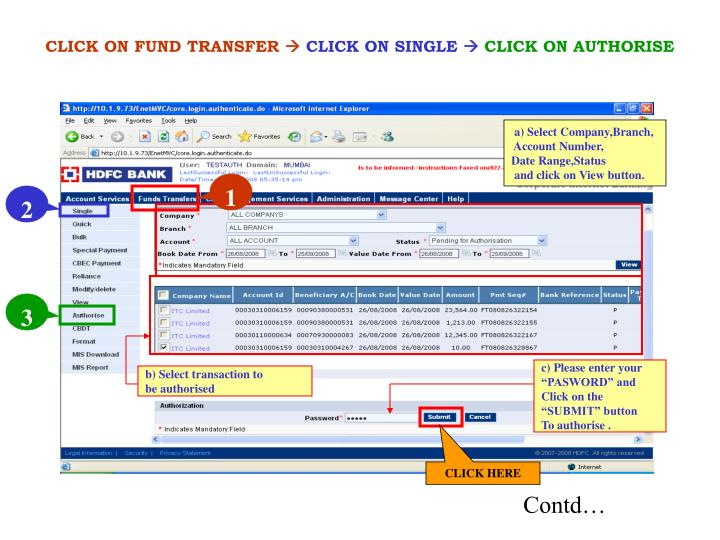 CLICK ON FUND TRANSFER