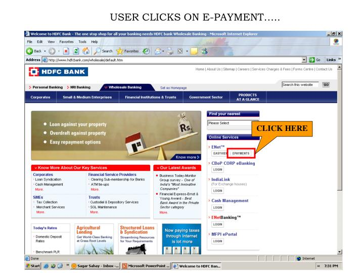 USER CLICKS ON E-PAYMENT…..
