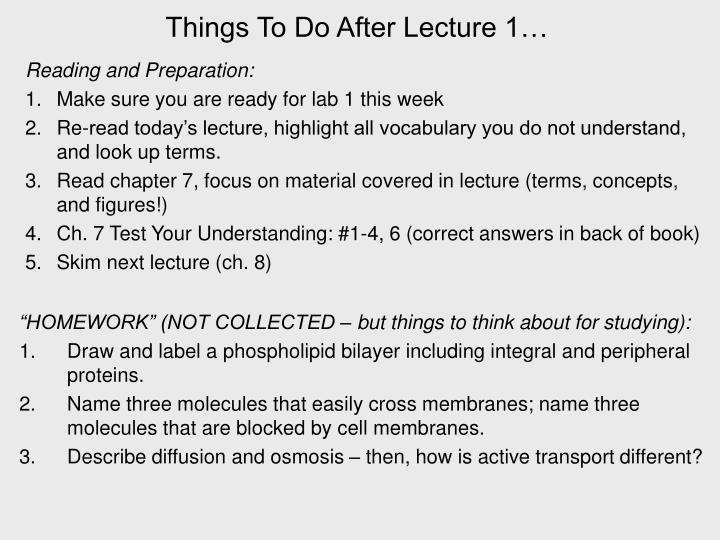 Things To Do After Lecture 1…