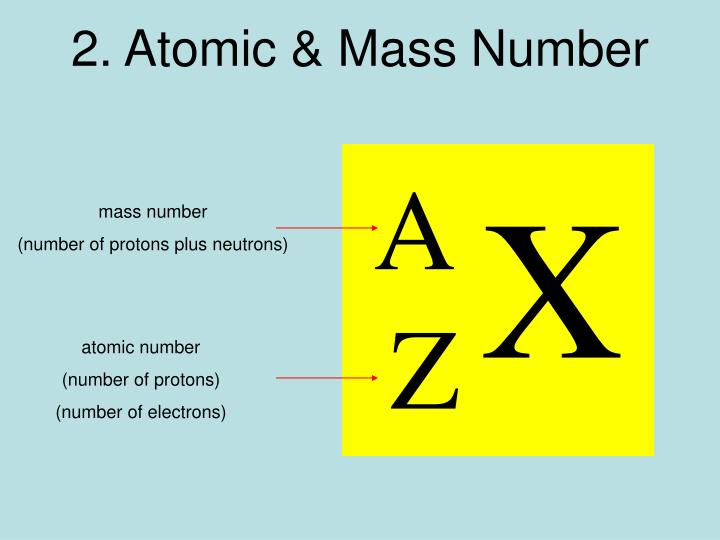 2. Atomic & Mass Number