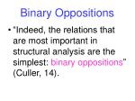 binary oppositions