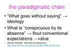the paradigmatic chain