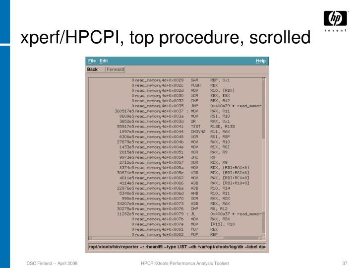 xperf/HPCPI, top procedure, scrolled