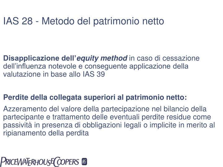 IAS 28 - Metodo del patrimonio netto