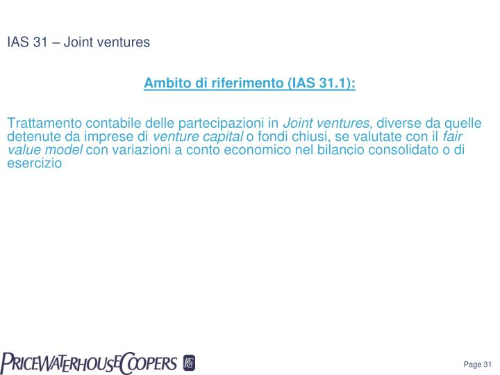 IAS 31 – Joint ventures
