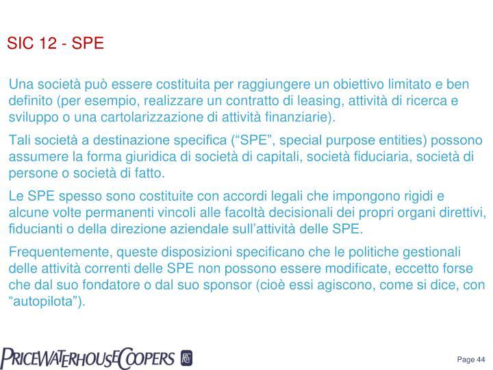 SIC 12 - SPE