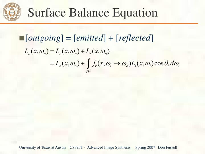 Surface Balance Equation