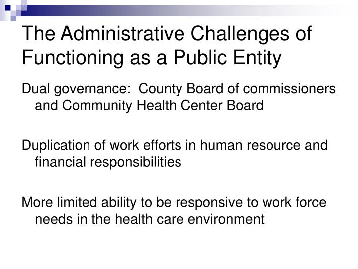 The Administrative Challenges of Functioning as a Public Entity