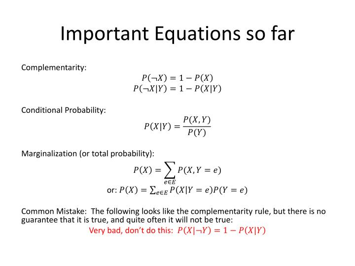 Important Equations so far