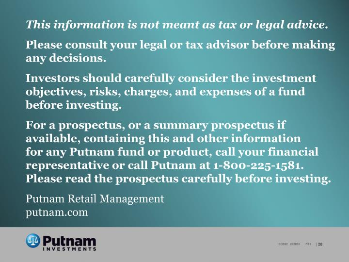 This information is not meant as tax or legal advice.