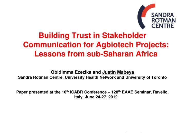 Building Trust in Stakeholder Communication for