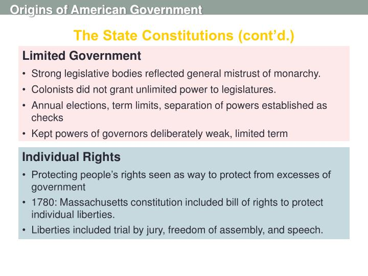 The State Constitutions (cont'd.)