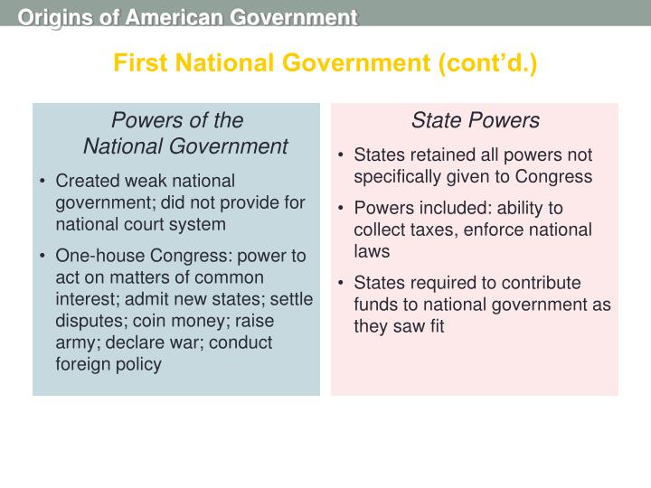 First National Government (cont'd.)