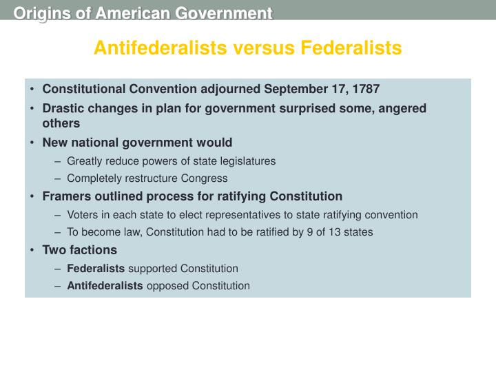 Antifederalists versus Federalists