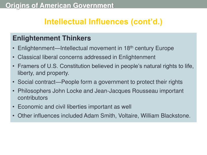 Intellectual Influences (cont'd.)
