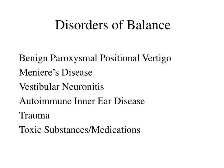 Disorders of Balance
