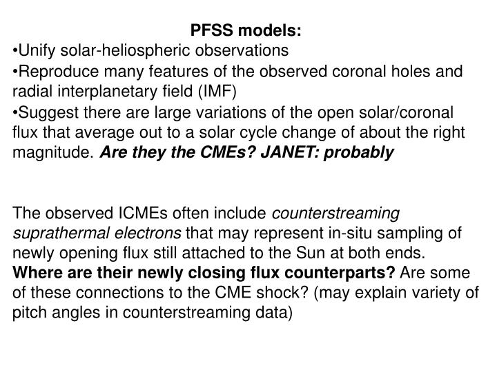 PFSS models: