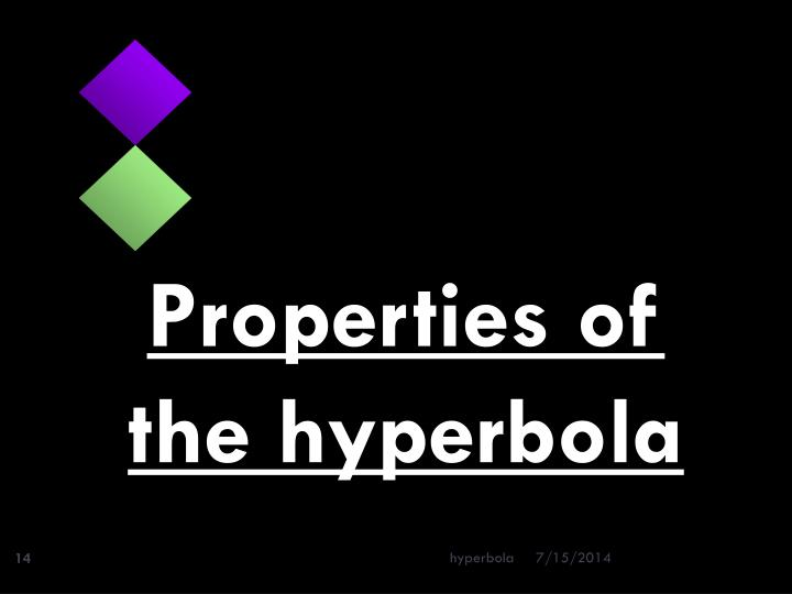 Properties of the hyperbola