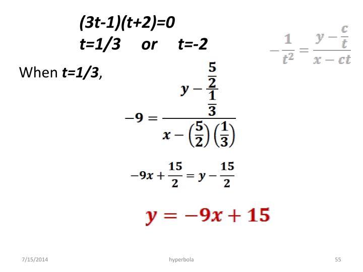 (3t-1)(t+2)=0