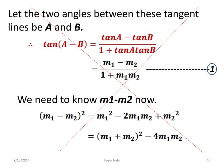 Let the two angles between these tangent lines be