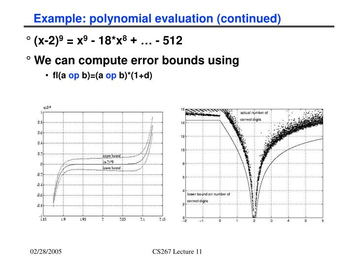 Example: polynomial evaluation (continued)