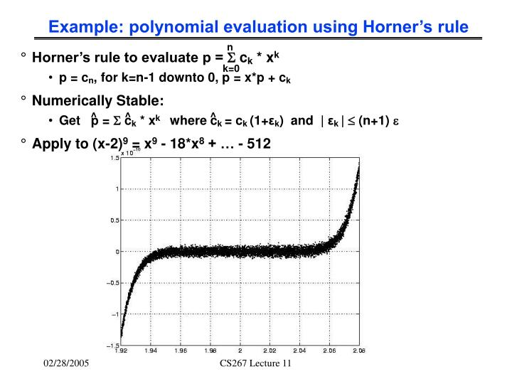 Example: polynomial evaluation using Horner's rule