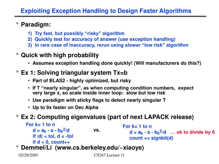 Exploiting Exception Handling to Design Faster Algorithms