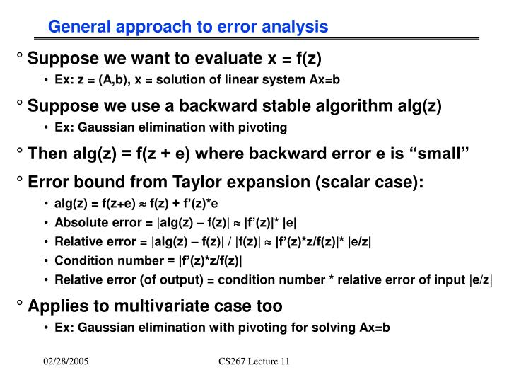 General approach to error analysis