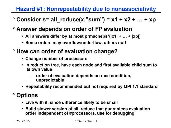 Hazard #1: Nonrepeatability due to nonassociativity