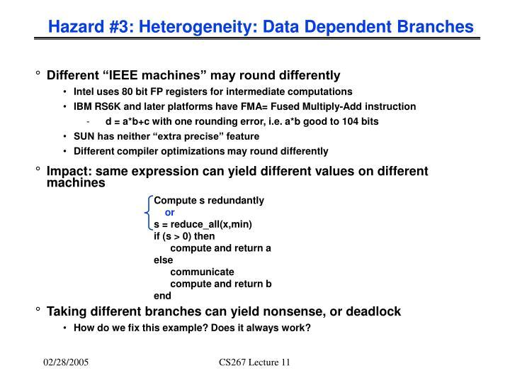 Hazard #3: Heterogeneity: Data Dependent Branches