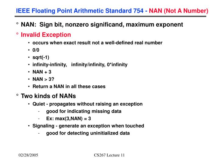 IEEE Floating Point Arithmetic Standard 754 -