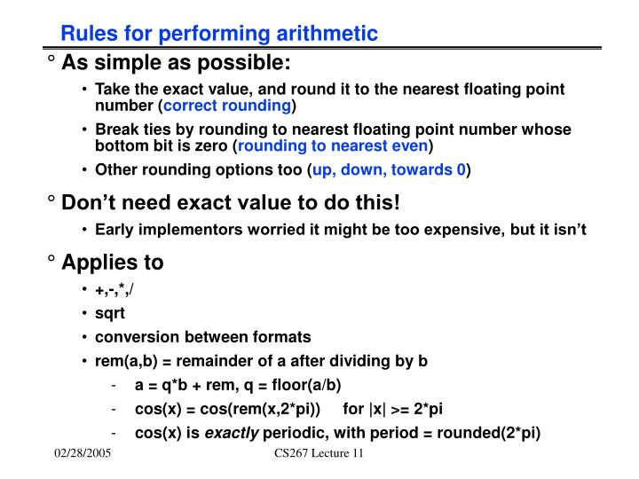 Rules for performing arithmetic