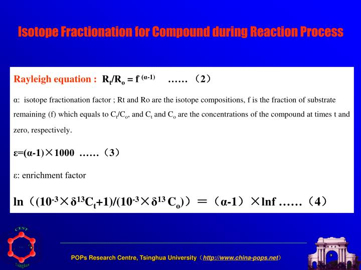 Isotope Fractionation for Compound during Reaction Process