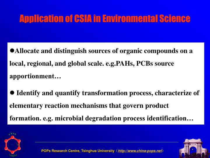 Application of CSIA in Environmental Science